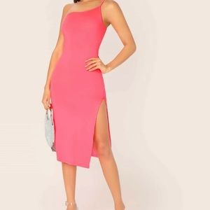 NWOT Neon Pink One Shoulder Dress Size S